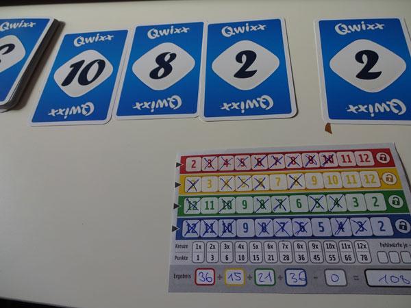 Qwixx Kartenspiel Spielsituation