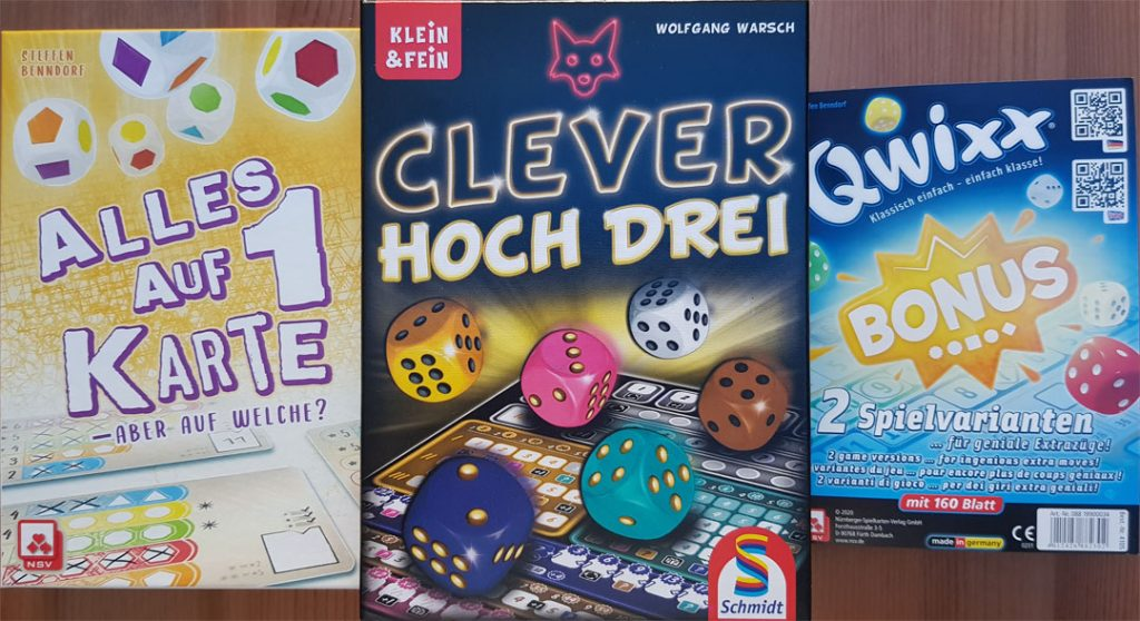 Alles auf 1 Karte - Clever Hoch Drei - Qwixx Bonus Cover